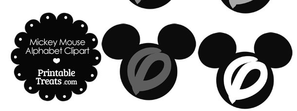 Grey Mickey Mouse Head Letter O Clipart