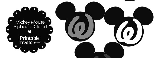 Grey Mickey Mouse Head Letter W Clipart