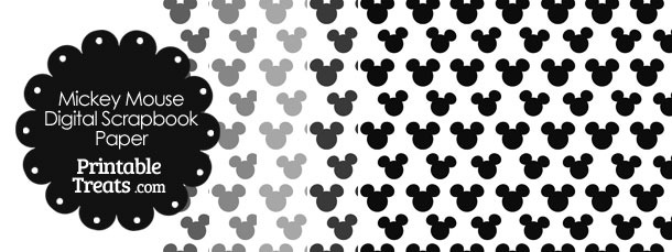 Grey Mickey Mouse Head Scrapbook Paper