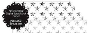 Grey Nautical Star Digital Scrapbook Paper