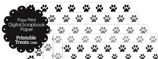 Grey Paw Print Digital Scrapbook Paper