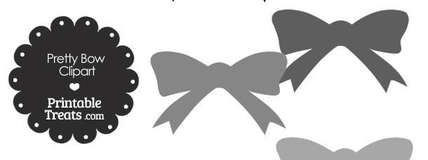 Grey Pretty Bow Clipart
