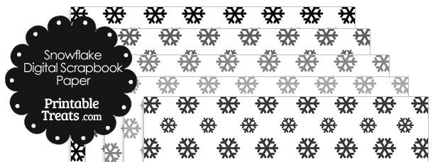 Grey Snowflake Digital Scrapbook Paper