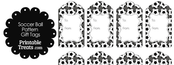 Grey Soccer Ball Pattern Gift Tags