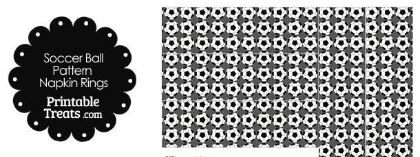 Grey Soccer Ball Pattern Napkin Rings