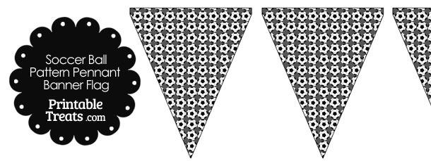 Grey Soccer Ball Pattern Pennant Banner Flag