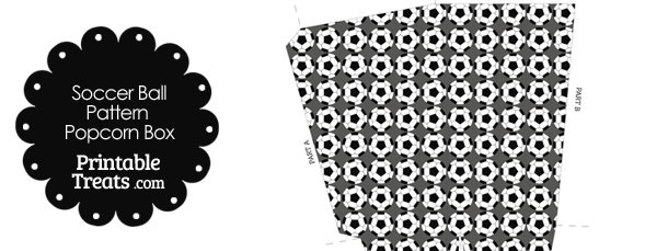 Grey Soccer Ball Pattern Popcorn Box
