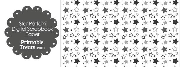 Grey Star Pattern Digital Scrapbook Paper