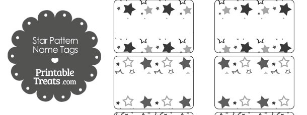 Grey Star Pattern Name Tags