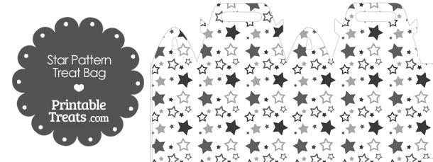 Grey Star Pattern Treat Bag