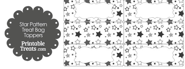 Grey Star Pattern Treat Bag Toppers