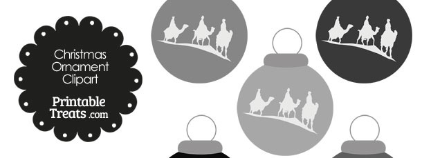 Grey Three Wise Men Christmas Ornament Clipart