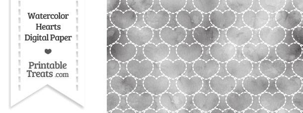 Grey Watercolor Hearts Digital Scrapbook Paper