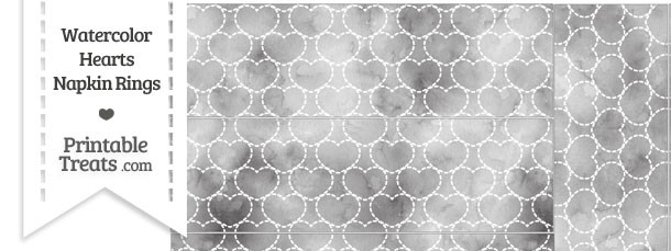 Grey Watercolor Hearts Napkin Rings