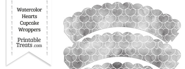 Grey Watercolor Hearts Scalloped Cupcake Wrappers