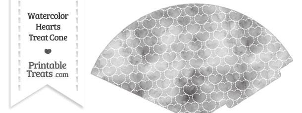 Grey Watercolor Hearts Treat Cone