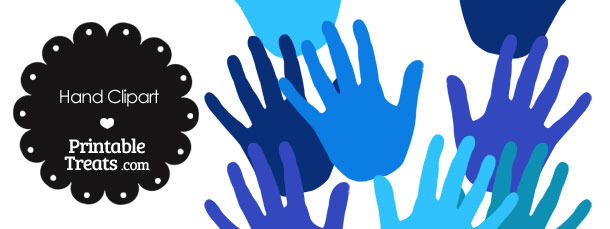 Hand Clipart in Shades of Blue