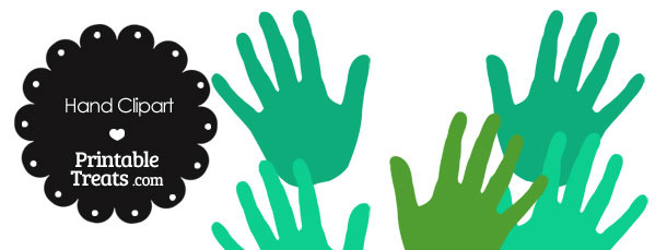 Hand Clipart in Shades of Green