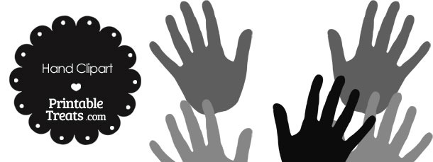 Hand Clipart in Shades of Grey
