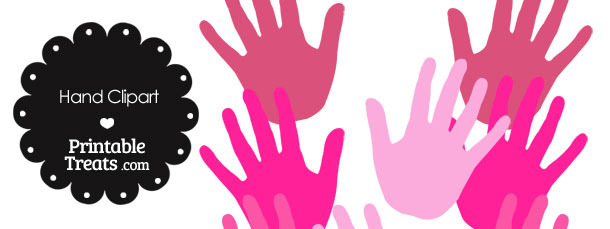 Hand Clipart in Shades of Pink