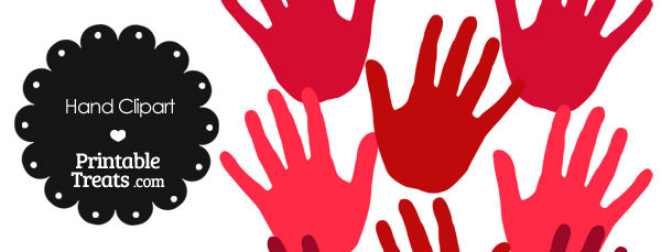 Hand Clipart in Shades of Red