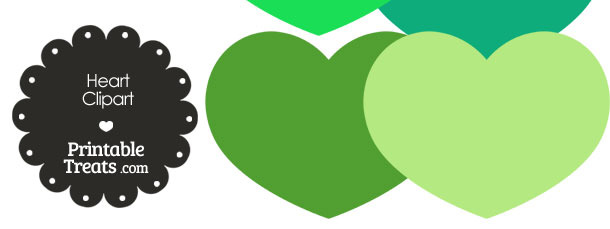 Heart Clipart in Shades of Green from PrintableTreats.com