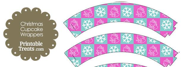 Hello Kitty Christmas Checkered Cupcake Wrappers