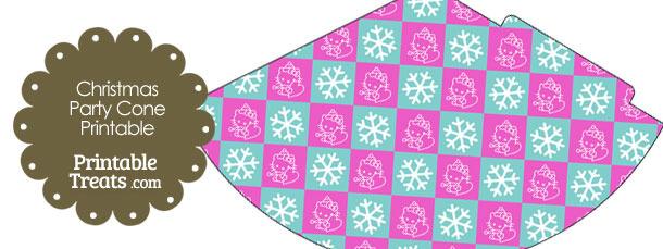 Hello Kitty Christmas Checkered Party Cone