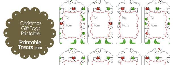 Hello Kitty Christmas Holly Gift Tags