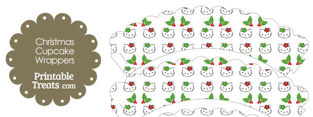 Hello Kitty Christmas Holly Scalloped Cupcake Wrappers