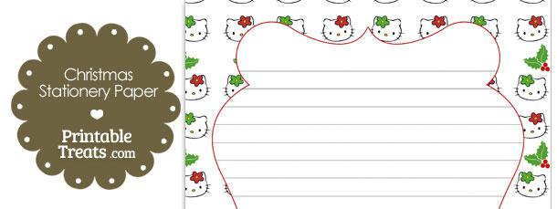 Hello Kitty Christmas Holly Stationery Paper