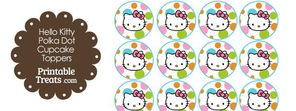 Hello Kitty Polka Dot Party Cupcake Toppers Set 2