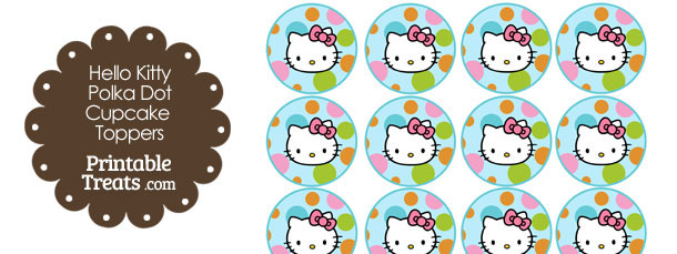 Hello Kitty Polka Dot Party Cupcake Toppers Set 1
