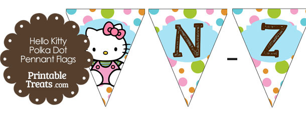 Hello Kitty Polka Dot Party Flag Letters N-Z