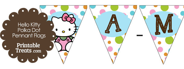Hello Kitty Polka Dot Pennant Banner Letters A-M