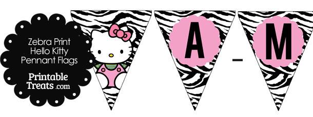Hello Kitty Zebra Print Pennant Banner Flag Letters A-M