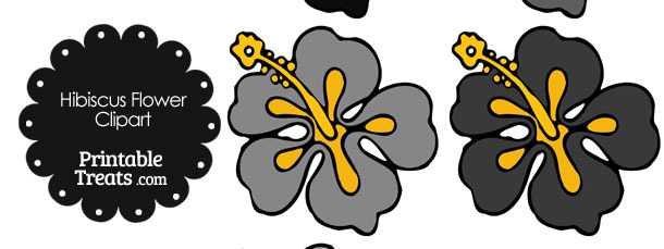 Hibiscus Flower Clipart in Shades of Grey