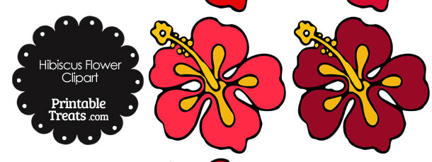 Hibiscus Flower Clipart in Shades of Red