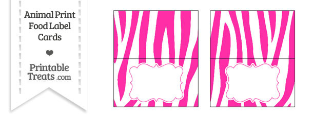 Hot Pink and White Zebra Print Food Labels