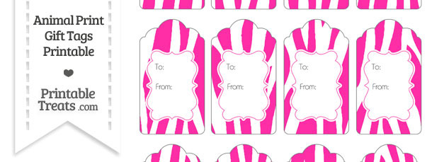 Hot Pink and White Zebra Print Gift Tags