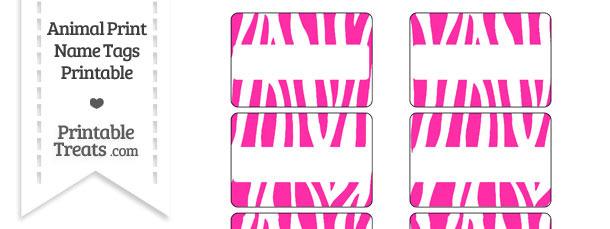 Hot Pink and White Zebra Print Name Tags