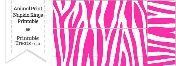 Hot Pink and White Zebra Print Napkin Rings