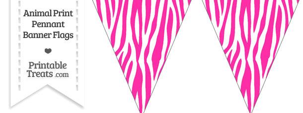 Hot Pink and White Zebra Print Pennant Banner Flag