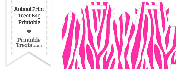 Hot Pink and White Zebra Print Treat Bag