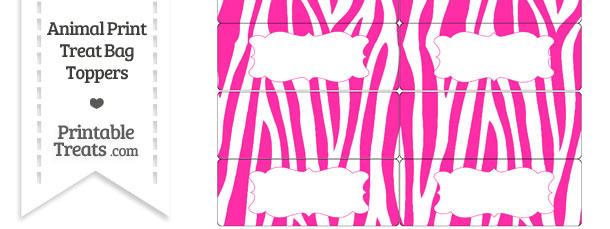 Hot Pink and White Zebra Print Treat Bag Toppers