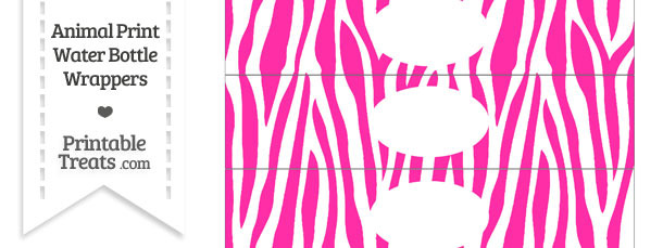 Hot Pink and White Zebra Print Water Bottle Wrappers