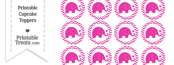 Hot Pink Baby Elephant Chevron Cupcake Toppers