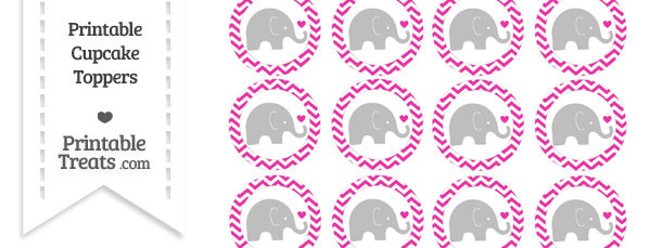 Hot Pink Chevron Baby Elephant Cupcake Toppers