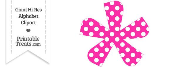 Hot Pink Polka Dot Asterisk Clipart