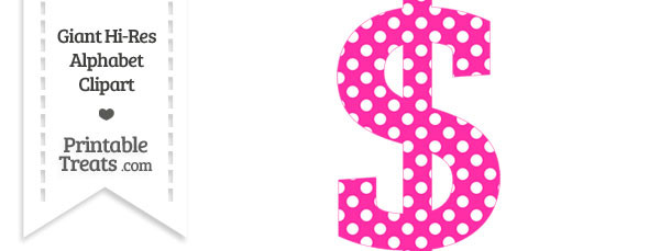 Hot Pink Polka Dot Dollar Sign Clipart